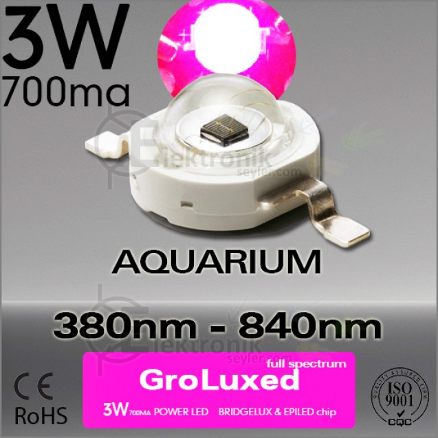 LED 3W Full Spectrum Gro 380nm-840nm Bridgelux