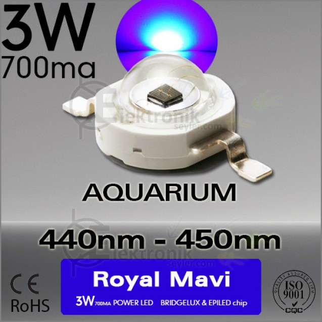 LED 3W Royal Mavi 440nm-450nm Bridgelux